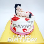 Couple Lovely Kisses Fondant Cake