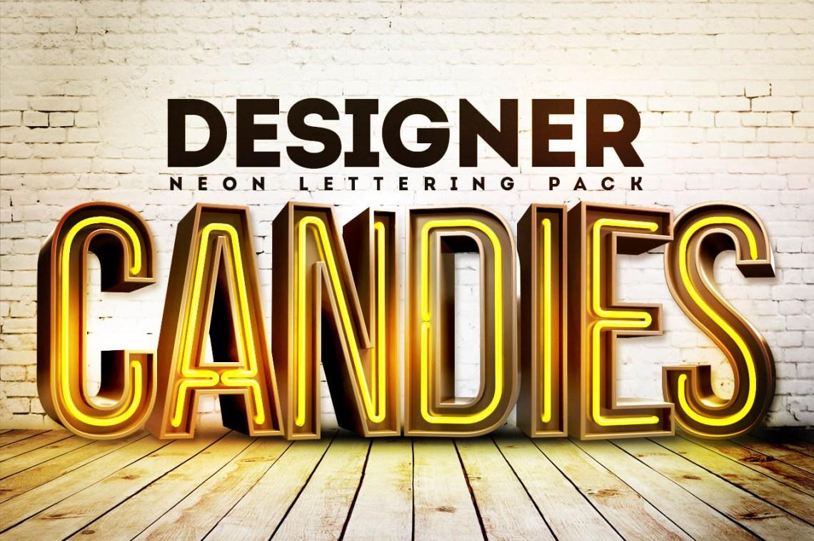 Download Free 3D Neon Lettering Renders Pack - DesignerCandies