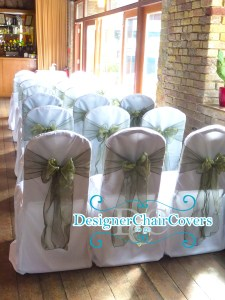 Sage Green Organza Sash, Chair Cover Hire Whitstable