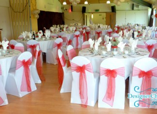 red organza sash hire, wedding chair covers