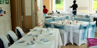 Chair covers, teal organza sashes