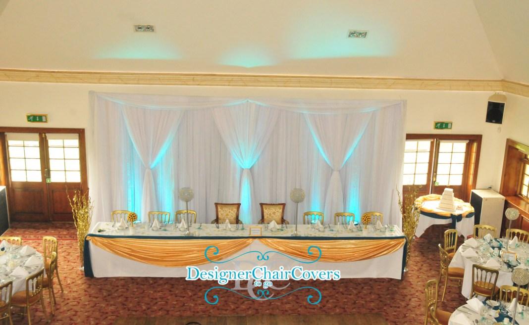 teal wedding theme gold backdrop