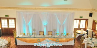 teal wedding theme gold backdrop
