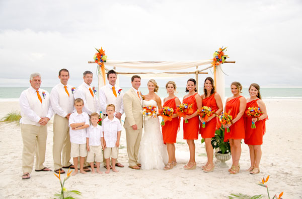 orange wedding dresses and groomsmen
