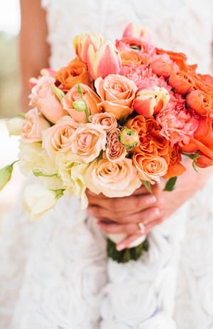 orange flowers wedding