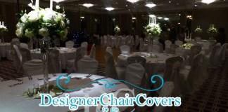white taffeta sash chair covers
