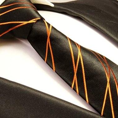 black and orange striped tie