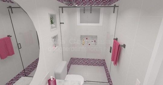 Banheiro das meninas com cor rosa