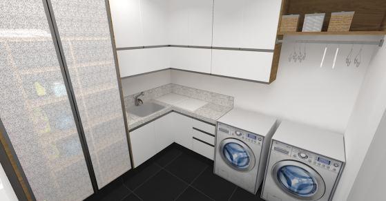 lavanderia grande sob medida com moveis em L