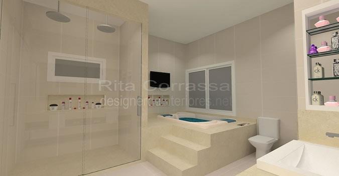 Banheiro da suite com banheira e local para maquiagem -> Banheiro Com Banheira E Dois Chuveiros