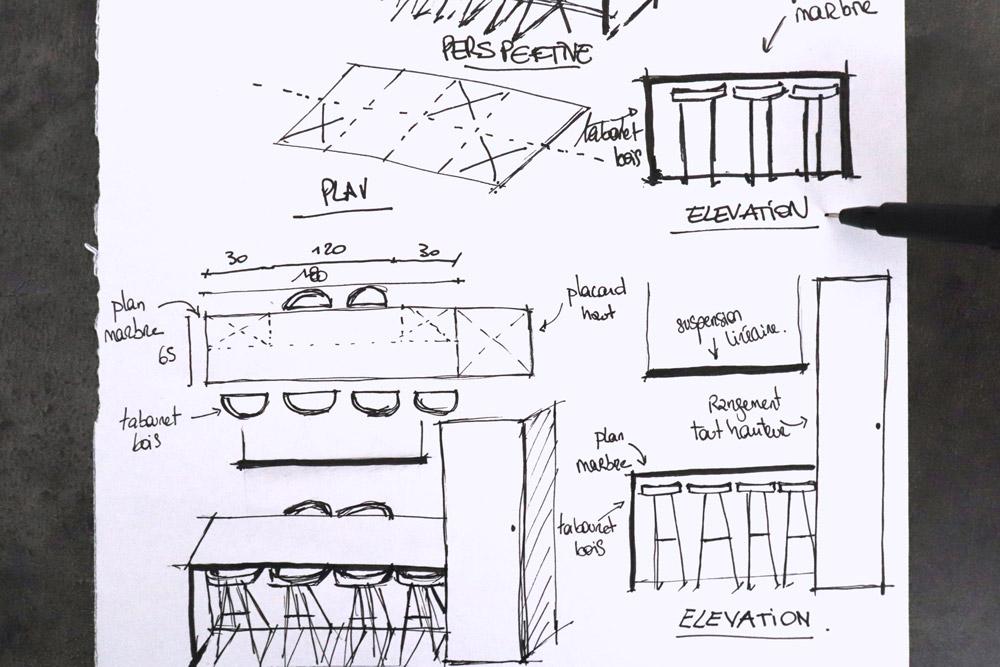 apprendre a dessiner dessin architecture intérieure croquis cuisine