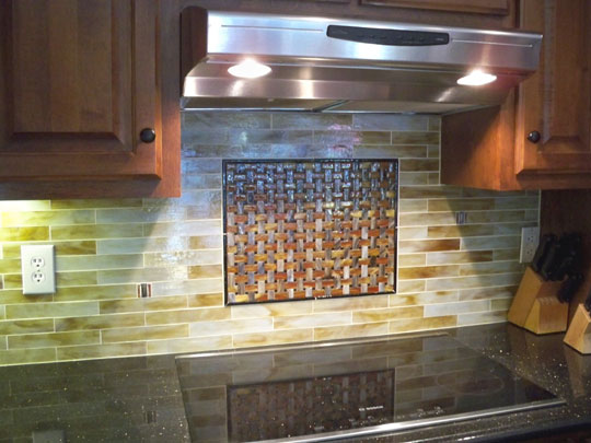 Stained Glass Mosaic Tile Kitchen Backsplash With Fused Glass Medallion Designer Glass Mosaics