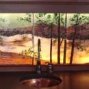 Backlit Glass Mural in Lake Scene Theme