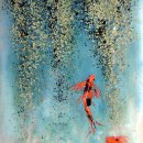 """""""Koi and Rain Forest"""" Fused Glass Panel for Master Bath"""