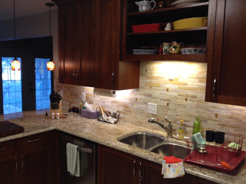 stained glass tile kitchen backsplash