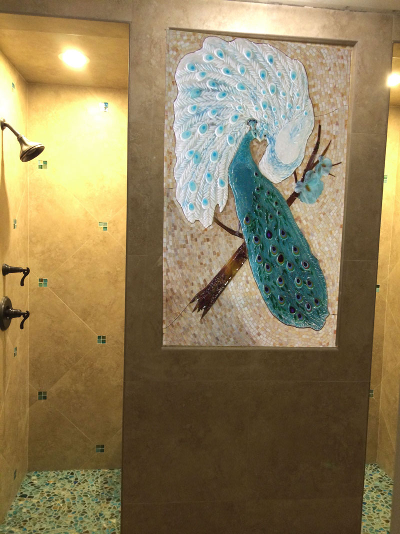 Mosaic And Fused Glass Tile Mural Peacock Lovers