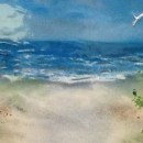 Beach Scene Mural in Fused Glass