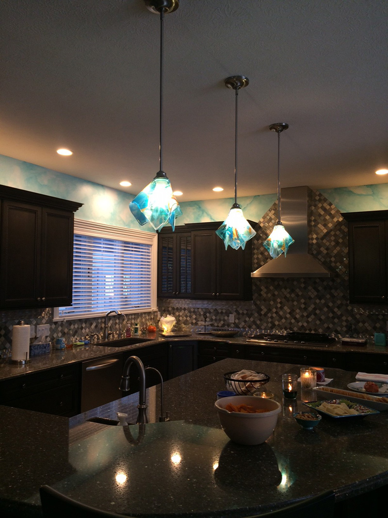 Shades Of Blue Abstract Glass Pendant Light Designer
