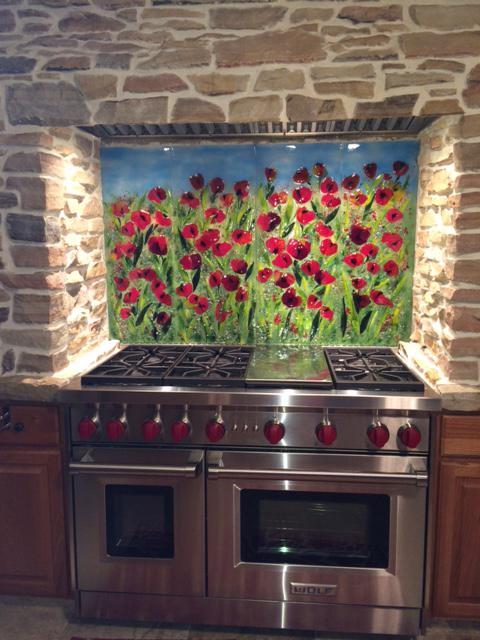 Red Poppy Kitchen Backsplash Designer Glass Mosaics