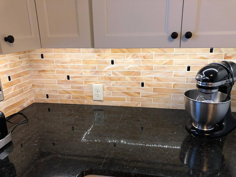 stained glass subway tiles kitchen