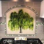 Weeping Willow Tree Mural In Fused Glass Designer Glass Mosaics