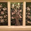 Pink Dogwood Fused Glass Mural