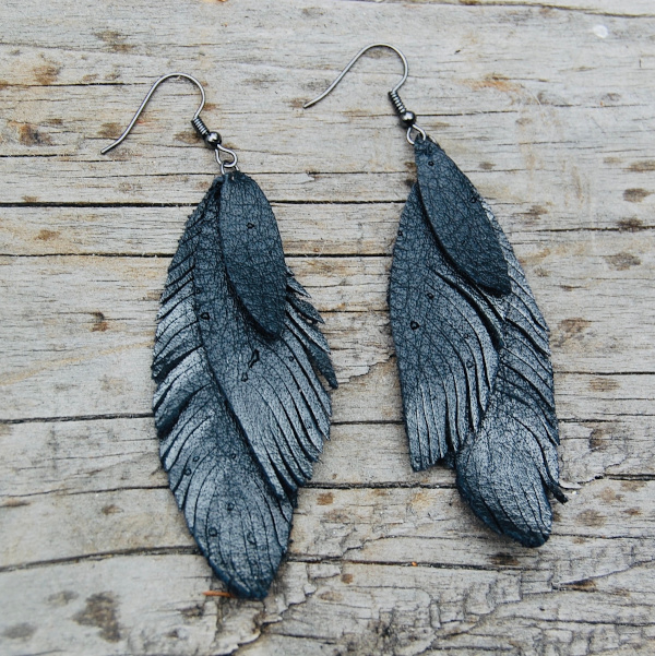 Stacked Leather Feather Earrings - Black with Highlights from 48 North Designs and Distributed by Designer Leatherworks