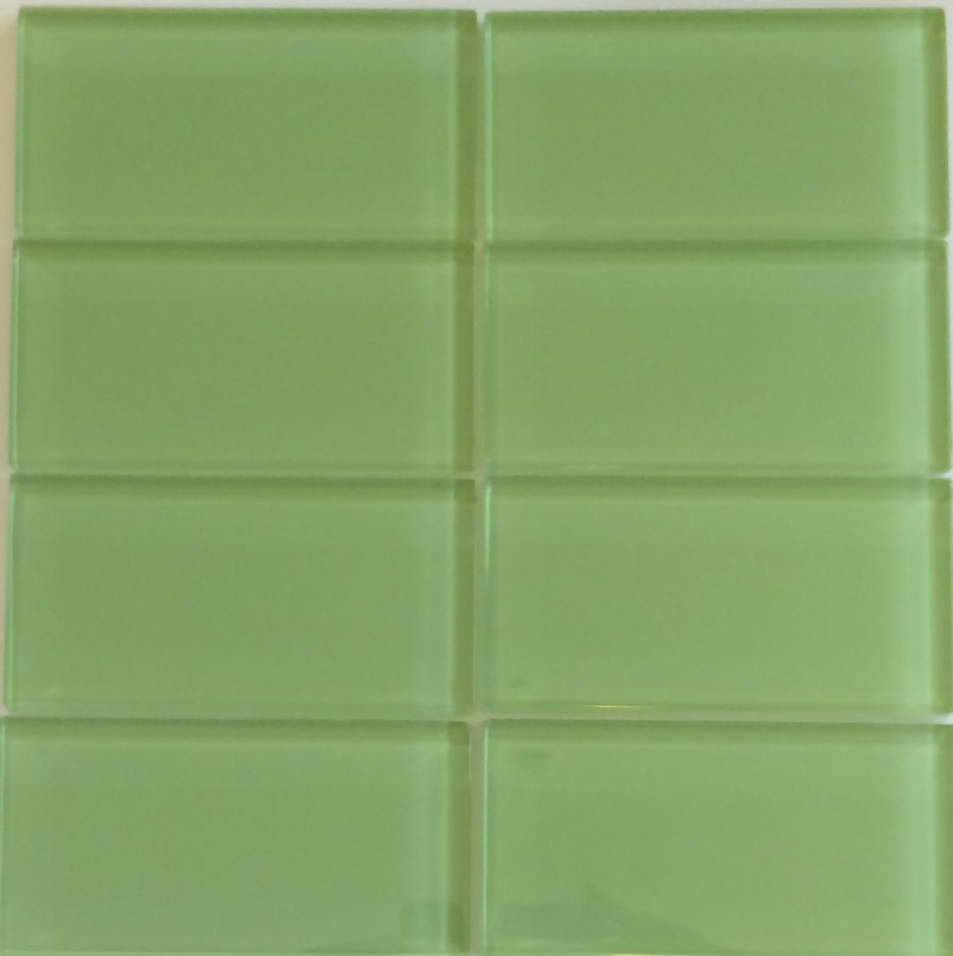 lush 3x6 glass subway tile on designer