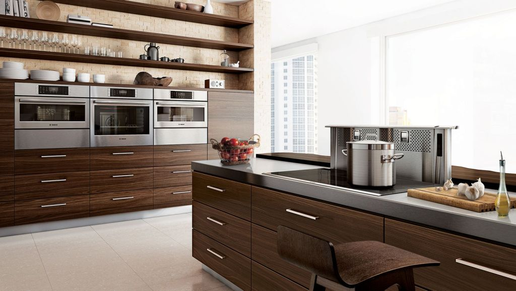 contemporary Kitchen with dark wood and bosch appiances