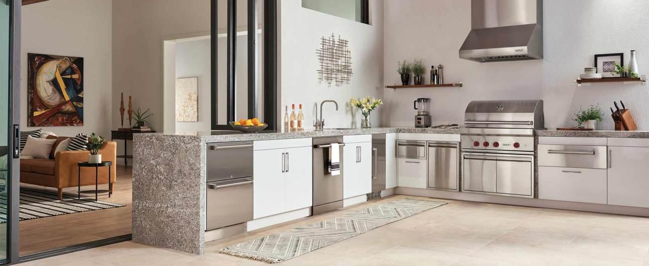 outdoor kitchen, refrigerator, grill, dishwasher, sink, hood by subzero wolf