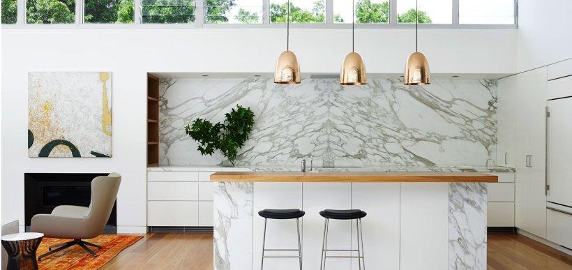 white kitchen, white & gray marble backsplash and island