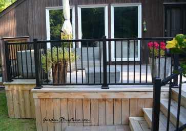 Cedar decks with aluminum railings