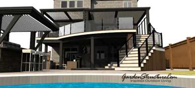 A modern deck with bar and louvered canopy