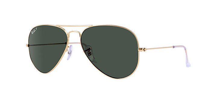 Ray Ban Aviator Polarized Sunglasses RB3025 001/58 Gold with Crystal Green Polarized Lens