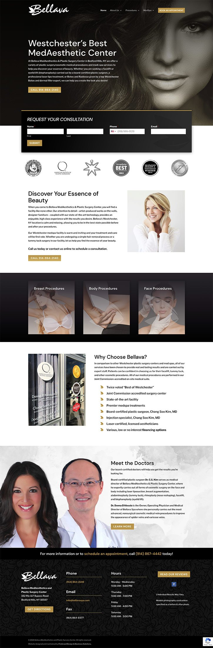 Bellava MedAesthetics and Plastic Surgery Center website Firebrand Design & Business Solutions in Safety Harbor, FL