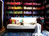 designfix, home library, rainbow shelves, color coded shelves