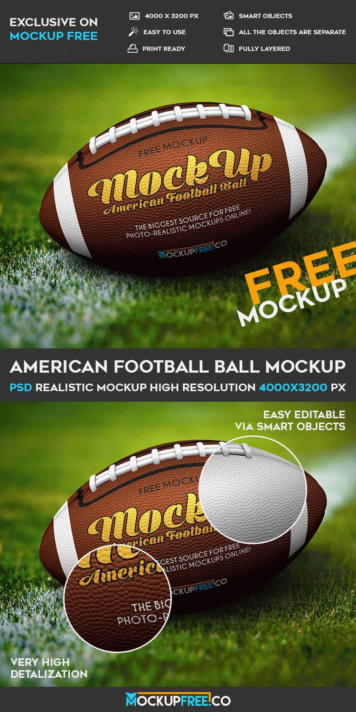 Download Free American Football Mockup in PSD - DesignHooks