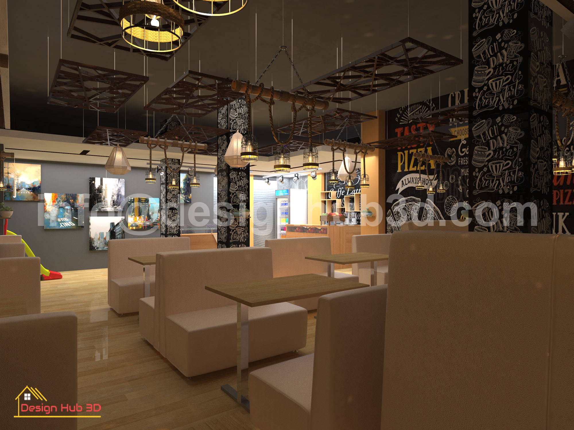 DesignHub 3D-Restaurant Top view, Restaurant interior, Restaurant Decor