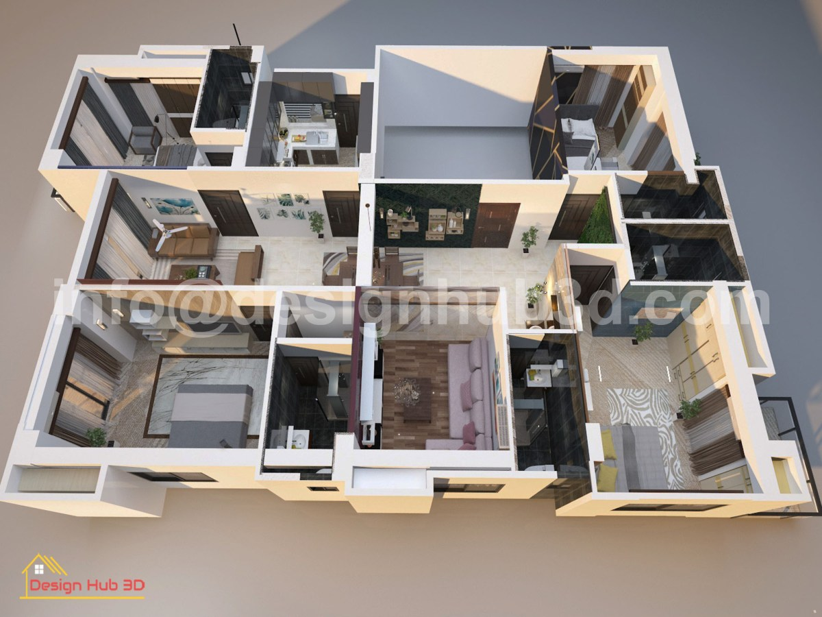 Design Hub 3D - Home Top View 3d modeling