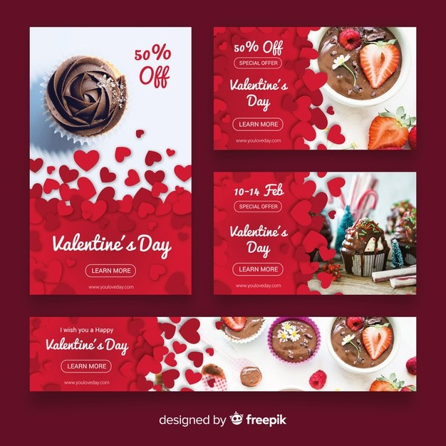 Valentine's day web banner collection Free