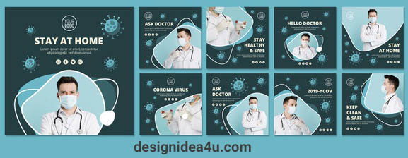 Best 5 Coronavirus (COVID 19) Social Media Posts PSD Template Free Download