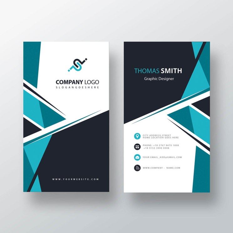 Vertical Business Card PSD Template Free Download