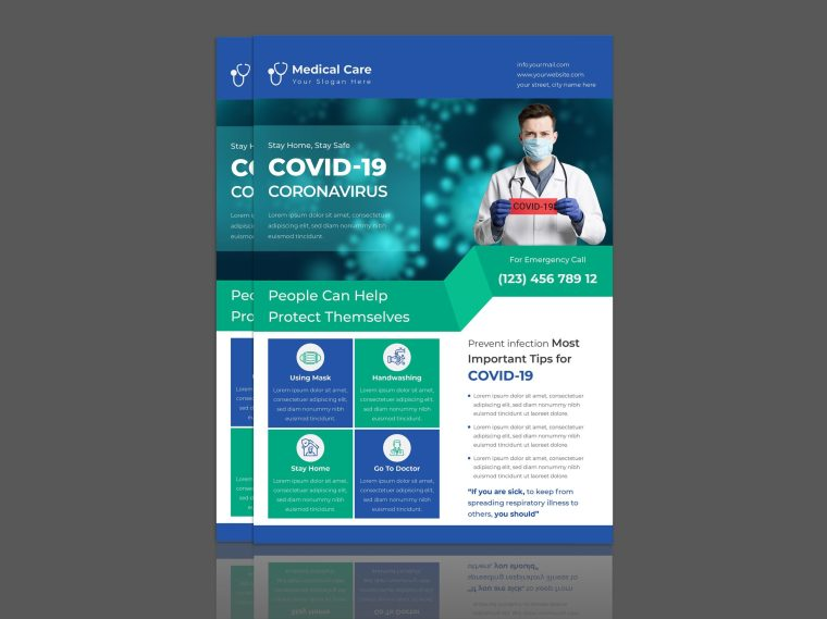 Creative Coronavirus Covid-19 Flyer Design Template