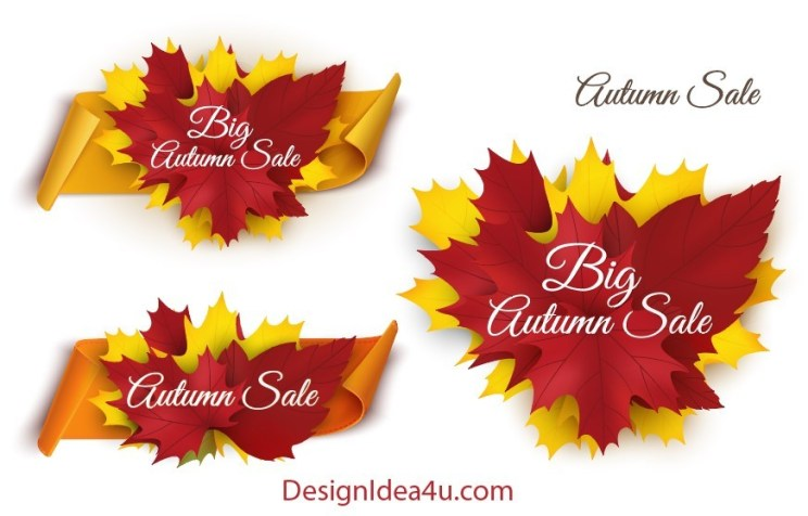 Autumn Banners And Stickers Vector Free Download