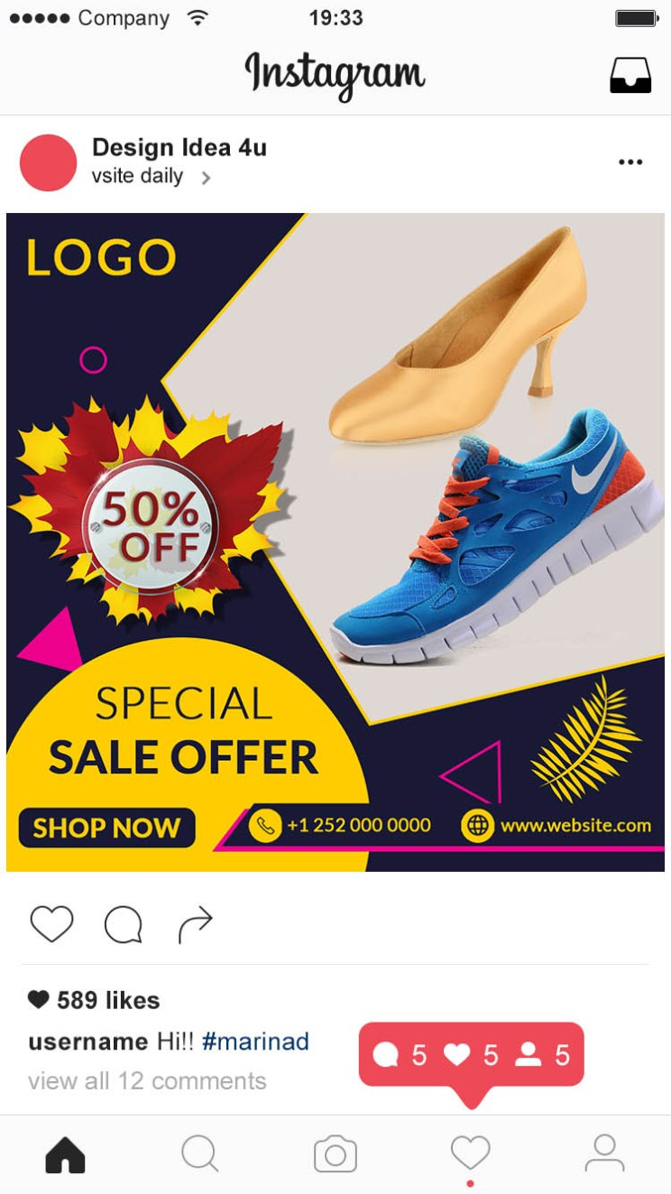 Instagram Post Preview - Special Shoes Social Media And Instagram Post PSD Template