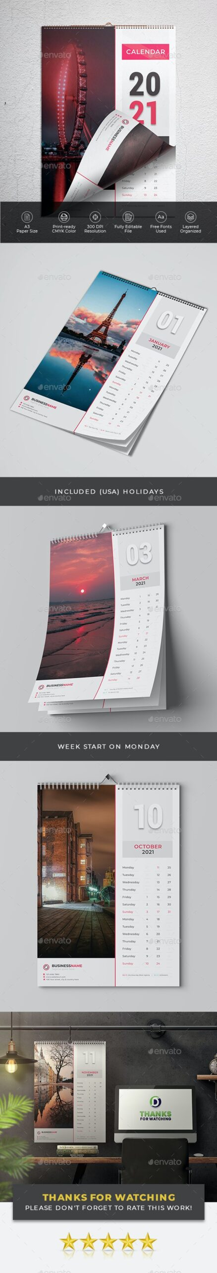 Calendar 2021 - Top 5 Wall Calendar Design Templates 2021