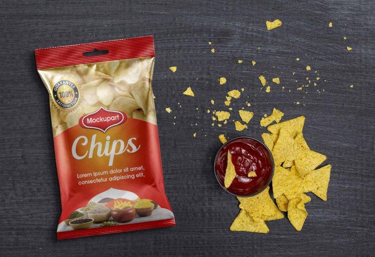 Realistic Chips Bag Mockup Free PSD