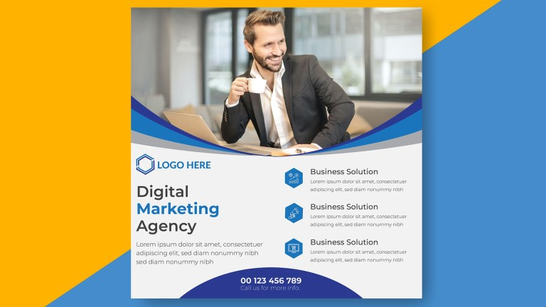 Digital agency social media post design and square flyer template