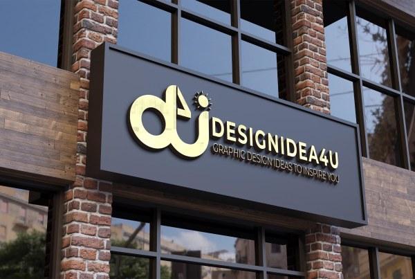 3d logo mockup modern facade sign Free PSD