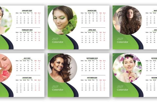 Free Download Salon and Spa Marketing 2021 Calendar Template